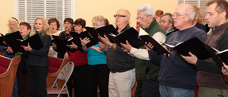 The RCS rehearses at Zion Baptist Church on Monday evenings at 7:00 p.m. in their Sanctuary.